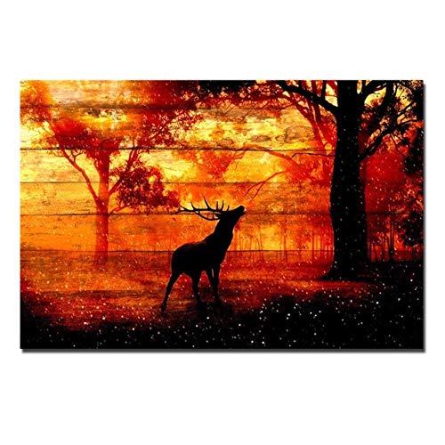 Mainstream home Leinwand-Wand-Kunst-Rotwild-Elche im Herbst Sunset Forest Bild Holzmaserung Abstrakt Circle Line Painting für Inneneinrichtungen, D1108,24x36, Innenrahmen