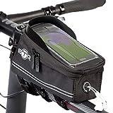 BTR Fahrradtasche mit Mobiltelefon-Halterung - Wasserabweisende Fahrrad-Rahmentasche. Handy Fahrradhalterung. Schwarz Fahrradrahmentaschen verbesserte Edition, für alle Fahrradtypen geeignet