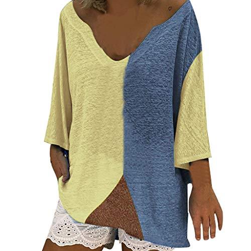 Tag Schiere Strumpfwaren (Lulupi T-Shirt Damen Große Größen 3/4 Kurzarm Oberteile Casual Patchwork Farbblock Tops T-Shirt Lässige Asymmetrische Sexy V-Ausschnitt Tunika)