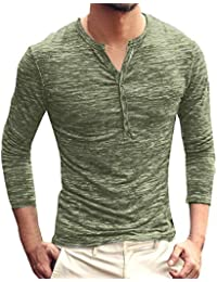 BUSIM Men's Long Sleeved Shirt Autumn Winter Models Henry Collar Casual Solid Color Bottoming Shirt Fashion Slim...