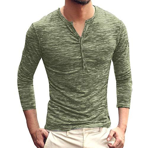 KPILP T-Shirt Männer Henry Kragen Tops Allgleiches Herbst Winter Solid Casual Langarm Button Schlank Bluse Grundlegende Shirt(Grün,...