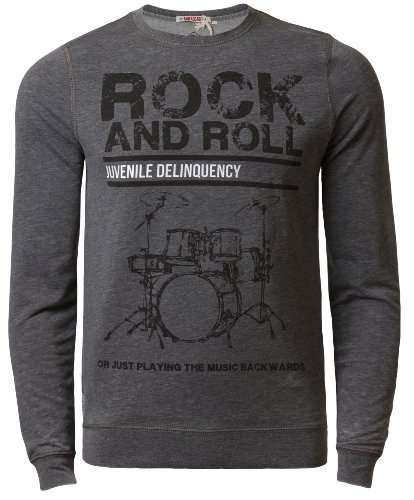Maglione da uomo Threadbare & Rock Roll-Felpa a girocollo, superficie effetto Burn Out grigio scuro medium