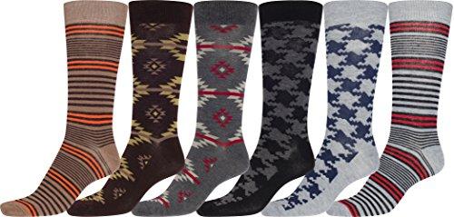 Sakkas 70501G1 - Männer Crew High Patterned Bunte Design Kleid Socken Asst Wert 6-Pack - Tribal Aztec-2-10-13
