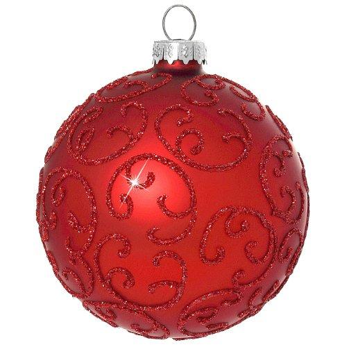 Palle di natale in vetro con classico sikora decorazione/florence/rosso - set di 4