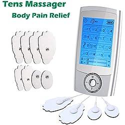 ZRYstore Electroestimulador Tens,Tens EMS Masajeador con 16 Modos, 2 Canales,8 Electrodos Autoadhesivos, Recargable para Alivio Espalda/Cuello/Hombros/estrés en Piernas y Dolor Ciático