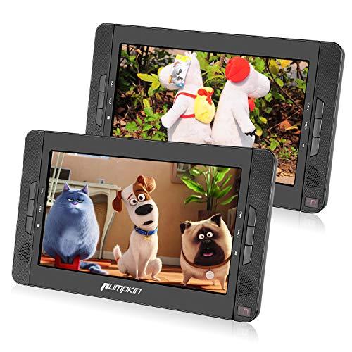 PUMPKIN Lettore dvd portatile doppio poggiatesta, schermo da 10.1 pollici con supporto, autonomia da 5 ore, AV IN/OUT/USB/SD/region free/ 18 mesi di garanz
