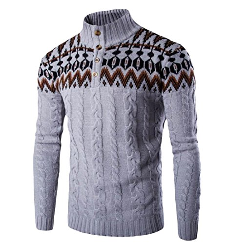 Tootlessly-Men Basic Style Long Sleeve Print Turtleneck Pullover Sweater