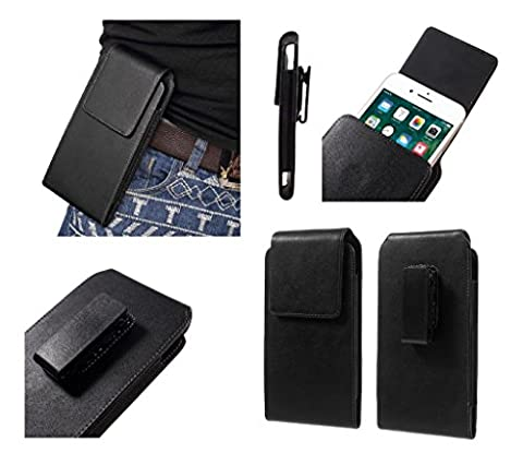 DFV mobile - Magnetic leather holster case belt clip rotary 360º for => YEZZ ANDY 6EL LTE > Black