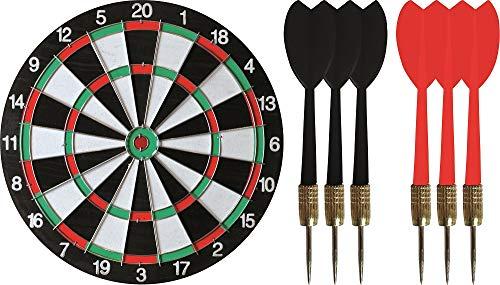 Dartscheibe Dartboard zweiseitig mit 6 Pfeilen, ∅ 38 cm, klassisches Dartspiel