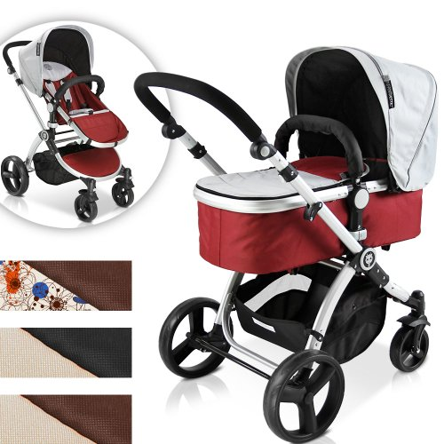 Kombi Kinderwagen SET mit Buggy, Kinderwagenwanne & Sportsitz Funktion inkl. Zubehör -Farbwahl-