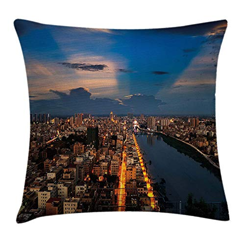 Urban Throw Pillow Cushion Cover, City at Night Bridge Buildings Coast Skyline Twilight Metropolis Sunset, Decorative Square Accent Pillow Case, 18 X 18 inches, Blue Yellow Light Brown