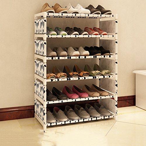 Stackable Stockage De Chaussures Support en Acier Inoxydable 6 Niveaux pour 18 Paires De Chaussures Support De Stockage Réglable Étagère Organisateur Titulaire (Couleur : Blanc)