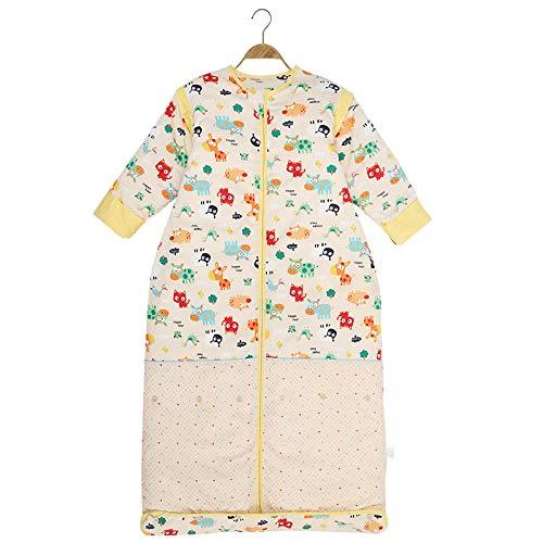 NEWELLYY Baby Schlafsack mit abnehmbaren,Baby verdickte Anti-Kick-Decke, Abnehmbarer Baumwollschlafsack-gelb_150cm,Schlafsack für Kleinkinder