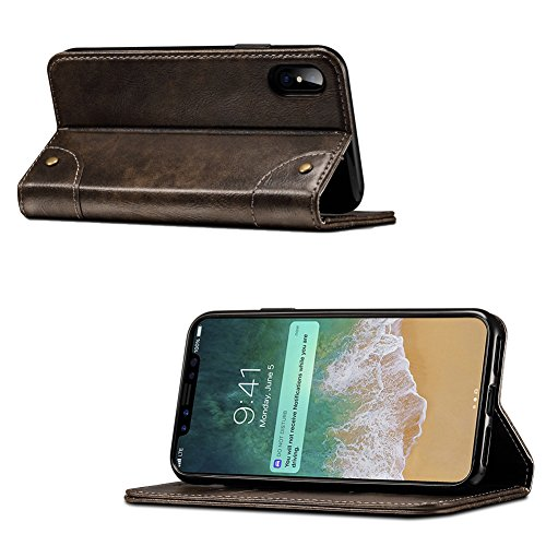 Apple iPhone X Wallet Case with Cards Holder, Magnetic Closure, Classical Leather Flip Folio Case for iPhone X - Braun Schwarz