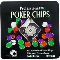 Set Poker Fichas de Póquer 100 Fichas de Póker Profesional 2 Barajas de Naipes Botón de Distribuidor