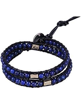 KELITCH Leder Armband HalbHalbedelsteinee Perlen Legierung Gravur 2 Wrap Armbänder