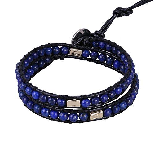 KELITCH Leder Armband Frauen Herren Wickelarmband Leder Armband Lapislazuli Perlen Legierung Gravur 2 Wrap Armbänder - Armband Perlen-wrap Und Leder