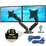 Ergosolid NB F160 Negro - El mango giratorio y robusto de escritorio sobre el resorte de gas para dos monitores 43cm-69cm 17'-27' y hasta 2x6,5kg 2xUSB