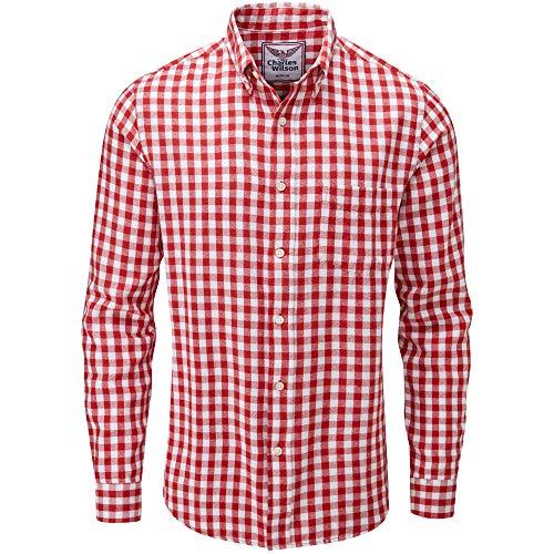 Charles Wilson Kariertes Herren Flanellhemd Langarm (Medium, Red & White 2)