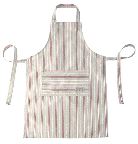 Ochre and Ocre Organic Cotton Adult Kitchen Apron Malvern Stripe Grey Red