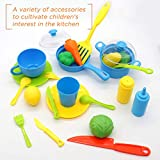 Nuheby Kids Kitchen Toys Cooking Set 34pcs Kitchen Accessories Pretend Role Play Educational Toys Gift Kids for 3 4 5 Years Old Boys Girls with Mini Carry Case