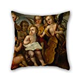 Throw Pillow Case Of Oil Painting Juan Correa - The Infant Jes??s With Angelic Musicians For Study Room Bench Couch Car Birthday Kids Boys 20 X 20 Inches / 50 By 50 Cm(2 Sides)