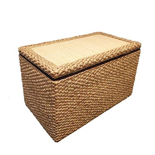 Büloo Natur Rattan Wäschesammler/Wäschekorb auch perfekt als Faltbarer Aufbewahrungsbox Belastbar bis 300kg