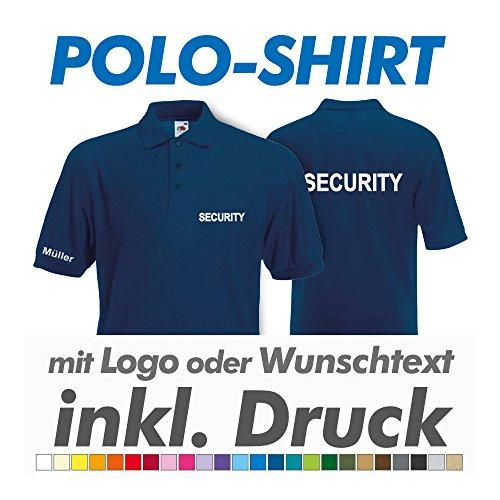 Preisvergleich Produktbild Polo Shirt, navy, Fruit of the Loom, inkl. Ihrem Wunschtext / Logo Druck Werbedruck, z.B. THW / Feuerwehr