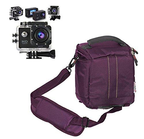Navitech lila action Kameratasche / Abdeckung - Mit mehreren Taschen, einschließlich anpassbare interne Ablagefächer für die DBPOWER Waterproof Action Sports Camera