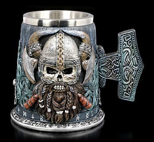 Figuren Shop Gmbh Fantasy Vikingos Calavera Jarro, Jarra con Asa - Danegeld Gothic Artículo Decorativo con Edelstahl-Einsatz, Pintado a Mano