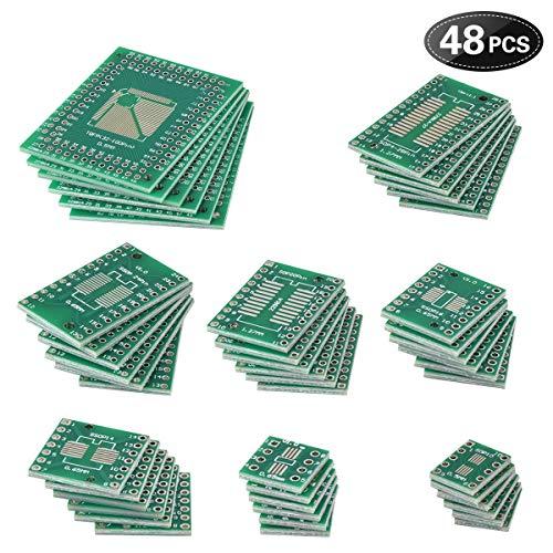 Loscrew 48pcs doppelseitige PCB PCB Adapter Board Kit, für DIY technische Tests und elektronische Projekte (8 Größen, RoHS Zertifizierung, bleifreies PCB Prozess) (Kits Projekte Elektronische)