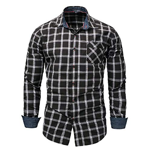 VITryst Men No Iron Long Sleeve Denim Plus-Size Single Breasted Longshirt Black XL - Woven Long Sleeve Button