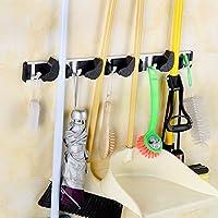 ATPWONZ Broom Mop Holder Wall Mounted Multifunctional Garage Wall Racks Organizer Storage Hooks with 4 Positions 5 Hooks