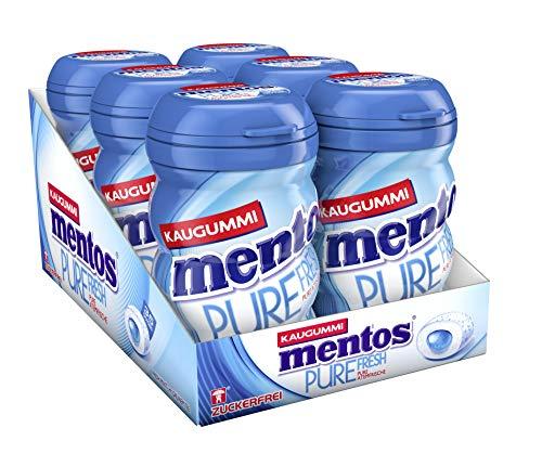 Mentos Kaugummi Pure Fresh Mint, 6er Box Kaugummi-Dragees, Pfefferminze-Geschmack, zuckerfrei -