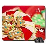 Computer Matte,Weihnachtsplätzchen-Lebkuchen-Mann-Weihnachtslustige Computer-Auflage-Matte 30X25 Cm