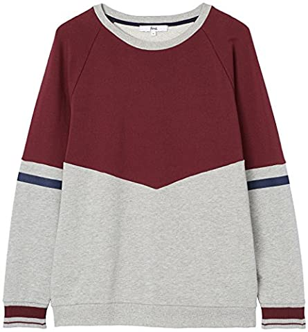 FIND Sweat-Shirt Multicolore Homme, Rouge (Burgundy), Medium