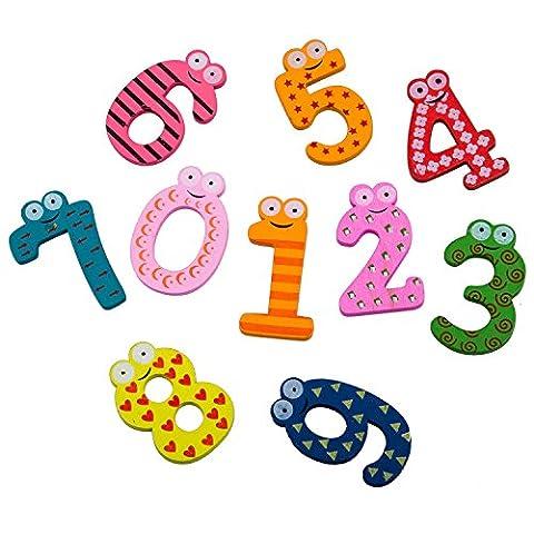 SODIAL(R) 10pcs Num¨¦ros 0-9 Aimants en Bois de R¨¦frig¨¦rateur pour Enfants