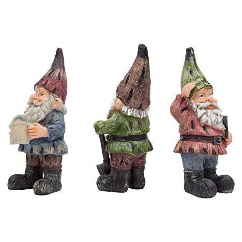 Garten Deko Figuren 3 Taditionelle Gartenzwerge – 18cm Hoch