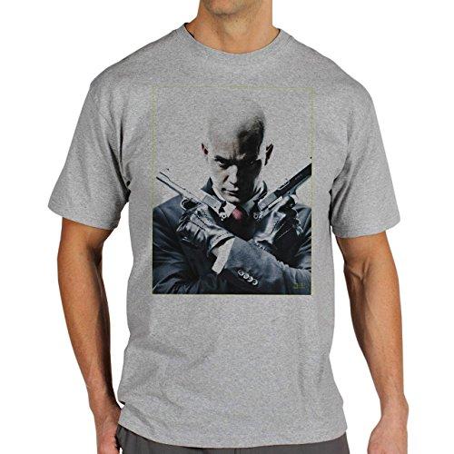 The Hitman Movie Guns Background Herren T-Shirt Grau