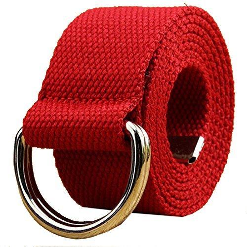 AIZESI Unisex Leinwand Gurtband D Ring Buckle Gürtel Lang Jeans Gürtel für Männer Frauen Beutegürtel(Rot) (D-ring Feste)