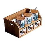 Fgx Set di scatole per condimenti in vetroceramica - 3 cucchiai da Portata - Base Antiscivolo - Ripiani in Legno - Set di vasetti per spezie con ampolla condimento