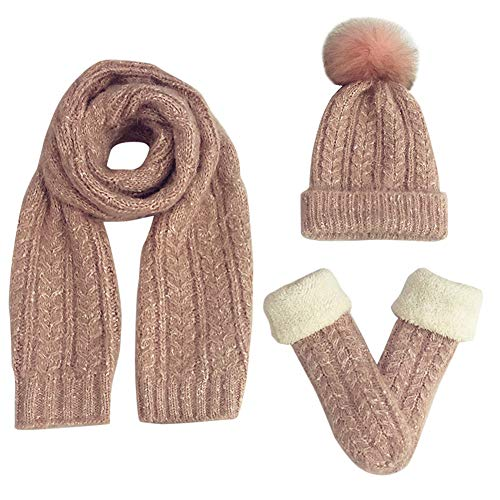 Feoya Damen Winter Warme Gestrickt Mütze Schal Handschuhe Weich Strickset Bommel Wollmütze Strickschal (Damen-schal, Handschuhe Und Hut)