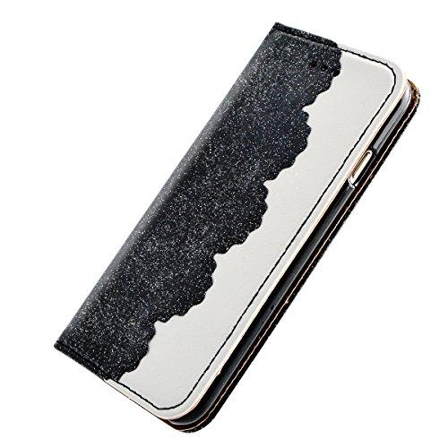 iPhone 8 Lederhülle, Fraelc iPhone 7 Bling Bling Tasche Hülle Glitzer Schutzhülle Flip Case mit Standfunktion & Kredit Kartenfächer Handyhülle +1x Eingabestift Pen für iPhone 7 / iPhone 8 (4,7 Zoll),  Schwarz