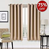 EASELAND Blackout Curtains 2 Panels Set Thermal Insulated Window Treatment Solid Eyelet Darkening Curtain for Living Room Bedroom Nursery,Khaki,46x54 Inches