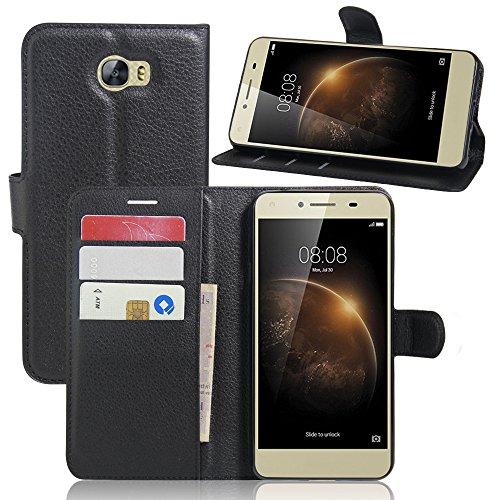 Huawei Y5 II Handyhülle Book Case Huawei Y5 II Hülle Klapphülle Tasche im Retro Wallet Design mit Praktischer Aufstellfunktion - Etui Schwarz