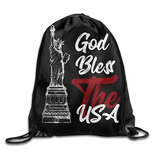 fengxutongxue God Bless The USA Text with The Statue of Liberty Drawstring Backpack Travel Bag Gym Outdoor Sports Portable Drawstring Beam Port Backpack for Girl Boys Woman Female