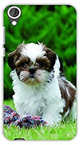 Crazy Beta Cute dog little puppy pet design Printed mobile back cover case for HTC Desire 820