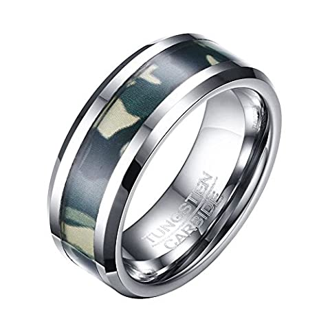 OAKKY Mens 8mm Black Tungsten Carbide Ring Camo Camouflage Hunting