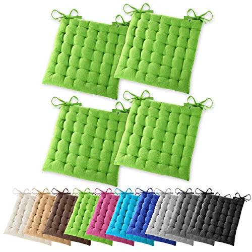 4er Set Gräfenstayn Sitzkissen Stuhlkissen 40x40x5cm für drinnen und draußen aus 100% Baumwolle – in verschiedenen Farben – Steppkissen / Bodenkissen