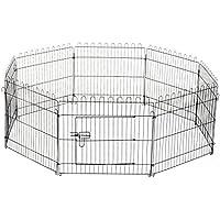 PawHut D06-025 Welpenauslauf/Zaun Laufstall Freilaufgehege Hunde Achteckig, schwarz